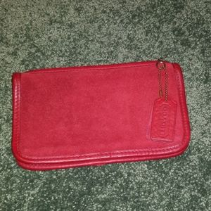 Coach Red Leather Makeup Bag